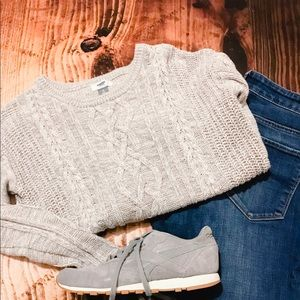 Old Navy Grey Cable Knit Sweater